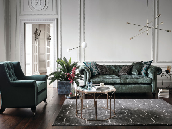Connaught Minor Sofa body in Monarch Highland Green range 6 Sunday Ladies Chair body in Amalfi Highland Green range 4